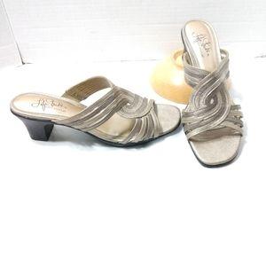 Life Stride Heeled Sandals Gold Grey 7.5 Narrow